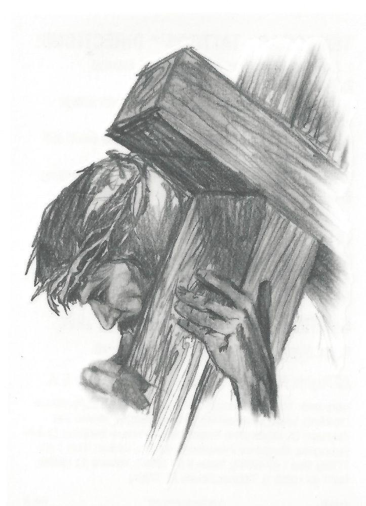 Wood Cross Drawing jesus caring the cross | 1000x1000.jpg
