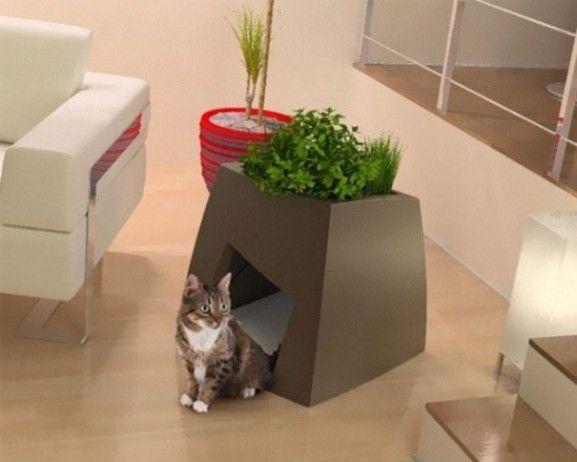 Desain Furniture Kreatif Ramah Kucing - Pot-Bunga-dan-Rumah-Kucing