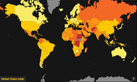 The world has become more peaceful for the first time since 2009 according to the annual Global Peace Index (GPI) released today. Austerity-driven defence cuts creating gains in several indicators of militarisation and improvements in the Political Terror Scale have lead to changes in the annual rankings.  Published by the Institute for This year has seen the world become 'slightly more peaceful' - bucking the trend seen in the last two years where the ranking showed a decline in global…
