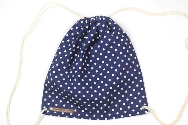 Turnbeutel - Turnbeutel Blau Weiß Punkte gepunktet Hipster - ein Designerstück von Knitters bei DaWanda
