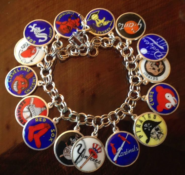 eCharmony.com - Vintage Silver & Enamel Baseball Teams Charm Bracelet