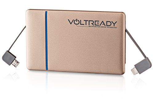 Mobile Phone Charger - VoltReady Gold Dual Output Universal Super Mini 3000mAh Portable Battery With Apple Lightning And Micro USB Built in Quick Cable Technology - Power Bank For iPhone 5/5s/5c/6/6plus, Android, Samsung, Galaxy, Nokia And Most Other Mobile Cell Phones. Super Small, Wallet/Credit Card Sized, Extra Thin And Lightweight. VoltReady http://www.amazon.com/dp/B00VNBRRU6/ref=cm_sw_r_pi_dp_ph5Gvb0CE05Z5