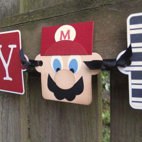 Mario Birthday Banner  It's Mario Time  Happy by ElvesInTheAttic, $29.95