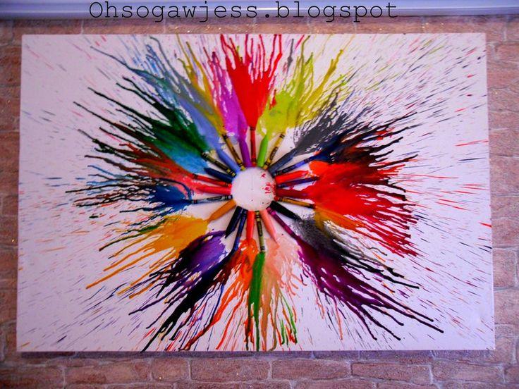 Best 25 melted crayon canvas ideas on pinterest crayon for How to melt crayons on canvas