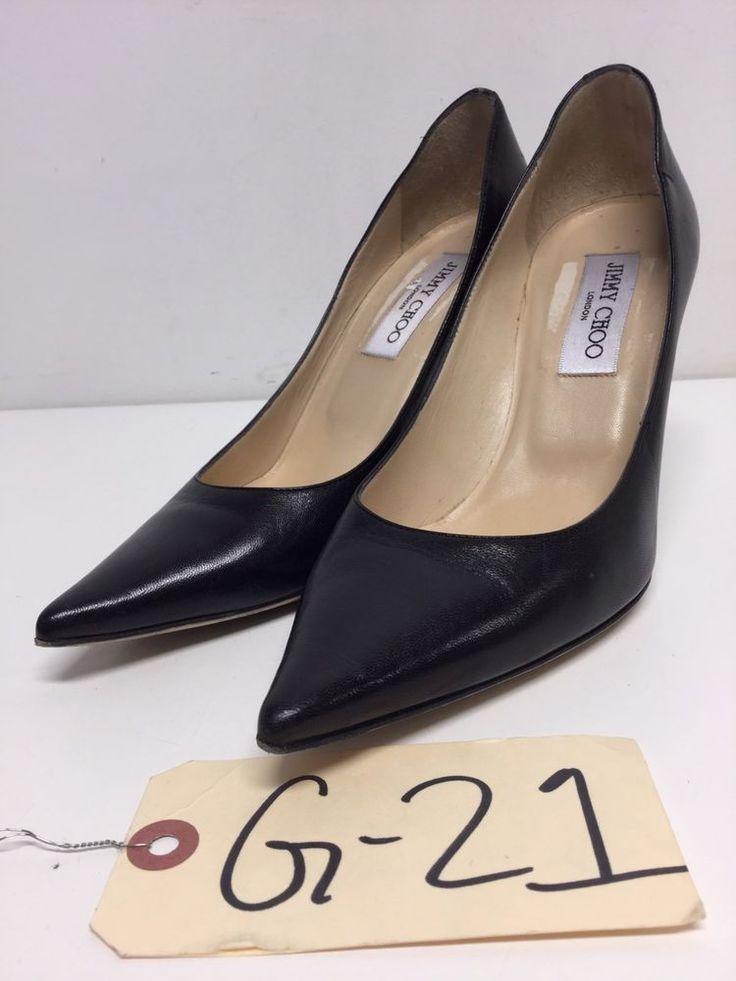 G21 Jimmy Choo Romy 60 Black Leather Pointy Toe Pumps Women's Size 37.5 M  #jimmychoo