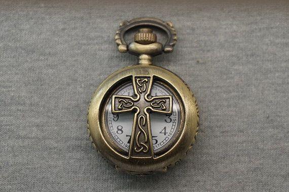 Keltisch kruis Pocket Watch antiek brons kleine door LOUISDUAN