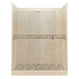 American Bath Factory Mesa Medium With Mesa Mosaic Tiles Solid Surface Wall Stone Composite Floor 12-Piece Alcove Shower
