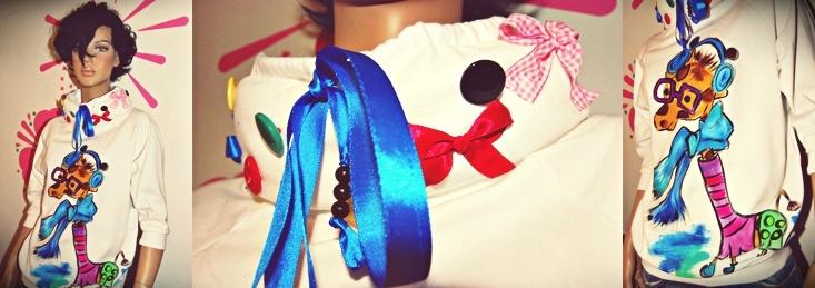 fluffy .accessorized. collar. funny. AnTanTe. giraffe. sweatshirt ♥