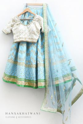 Sangeet Lehengas - White and Pastel Blue Lehenga | WedMeGood White with Gold Gota Blouse, Pastel Blue Lehenga with Gota Patti work and Sea Green Border and Pastel Blue Net Dupatta #wedmegood #sangeet #lehengas