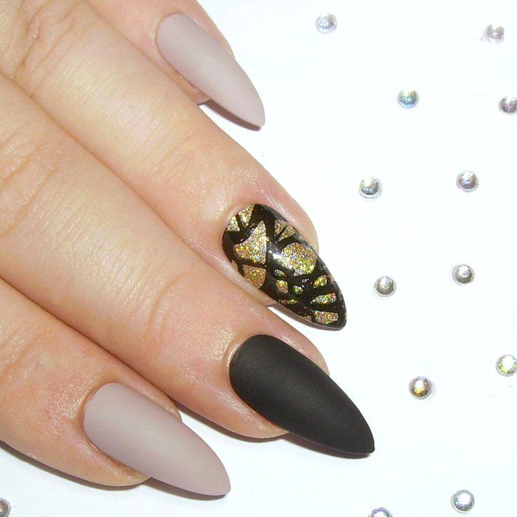 Matte Stiletto Nails -  Press On Nails - Glue On False Nails - Stick On Fake Acrylic Nails - Nude, Black & Gold Glitter by SarahsSparklesNails on Etsy https://www.etsy.com/listing/215161226/matte-stiletto-nails-press-on-nails-glue