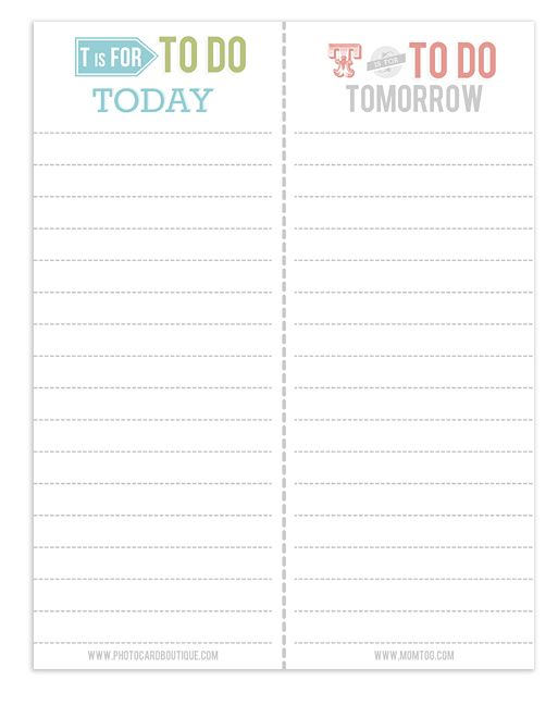 {free} printable to do lists