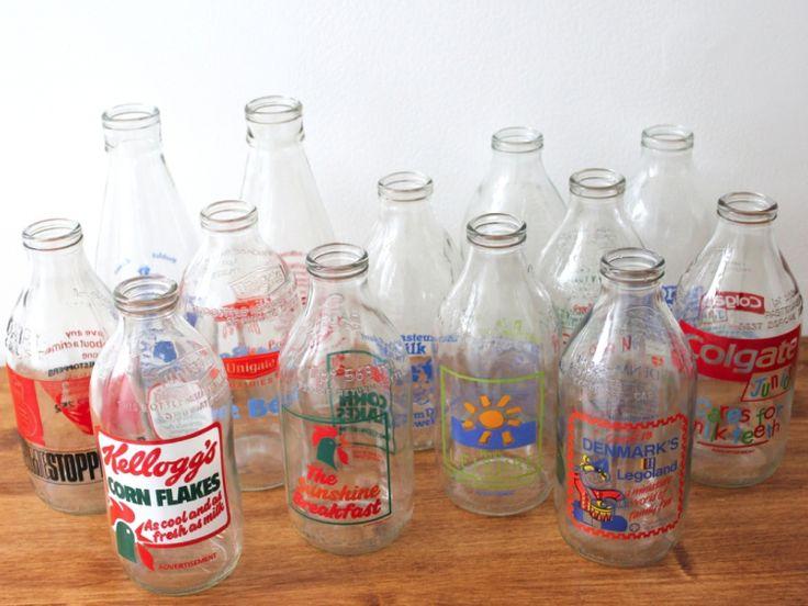 Bouteilles de lait anglaises vintage