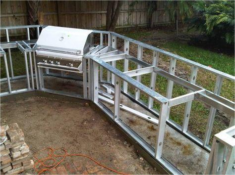 diy built in grill island | outdoor metal kitchen outdoor kitchen built in ice chest outdoor ... #outdoordiykitchen