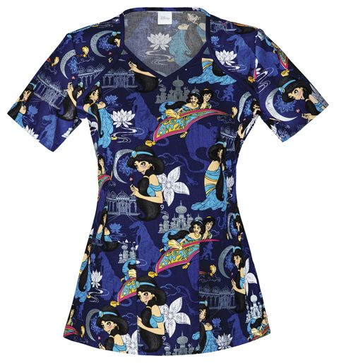 """A V-neck top features a cut-out detail at the front neckline, patch pockets and side vents. Center back length: 26"""" Sizes: XS - 3XL Color: Princess Jasmine (PRJA) Brand: Tooniforms"""