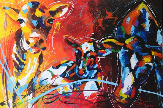 "NZ/NL Artist: FJS-Art - Acrylic painting on canvas (101cmx150cm) - ""Cows"" - Animals - homedecoration - wallART - www.fjs-art.com"