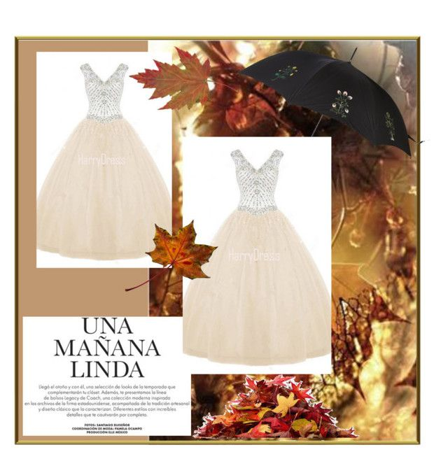 """""""Nude Ball Gown V Neck Tulle Floor Length Beading Long Prom Dress"""" by harrydress ❤ liked on Polyvore featuring Alexander McQueen"""