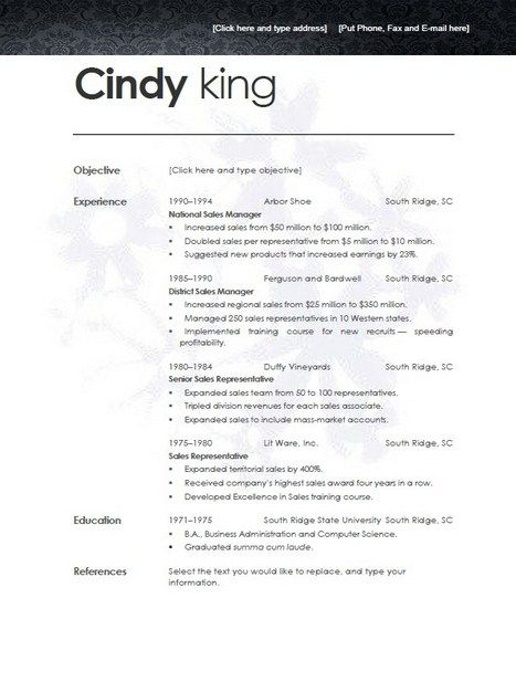Template Resume Open Office