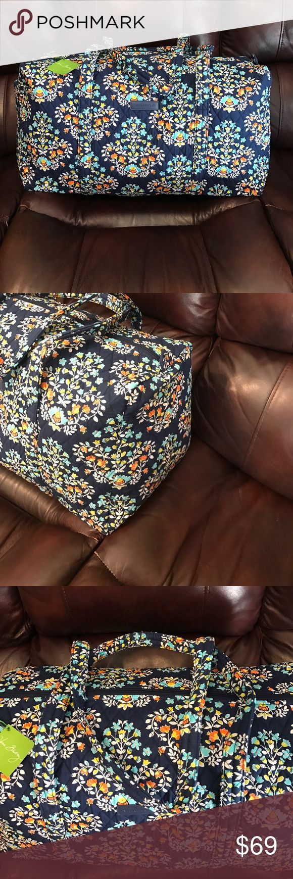 "NWT Vera Bradley large duffel chandelier floral NWT Vera Bradley large duffel chandelier floral. Dimensions 22"" w x 11 ½"" h x 11 ½"" d with 15"" strap drop Vera Bradley Bags Travel Bags"