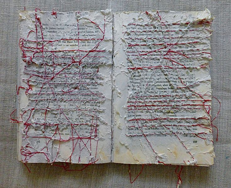 Ines Seidel. story, after the water. | altered book, yarn.
