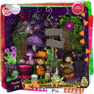 """**NEW** Collab """"Sweet and Candies"""" by Desclics & Josy Créations  Available @ http://www.paradisescrap.com/fr/kit-halloween/11713-sweet-and-candies-collab-josy-creations-desclics.html"""