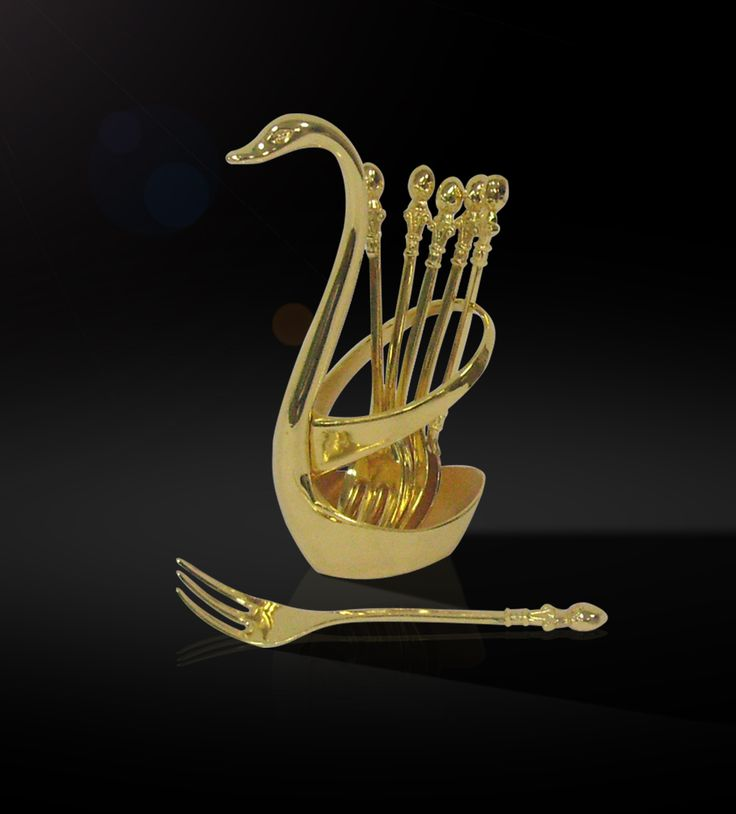 Spoon Set   The lustrous 24 carat gold plated set of 6-spoons with swan is a classic symbol to adorn your center table.  http://www.thedivineluxury.com/product/Spoon-Set.html