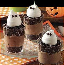 Cute - Boo Cups --2 pkg. (4-serving size each) JELL-O  Chocolate Flavor Instant Pudding &  Pie Filling 1 tub (8 oz.) COOL WHIP Whipped  Topping, thawed, divided 20 OREO Chocolate Sandwich  Cookies, crushed, divided 3-1/4 cups cold milk