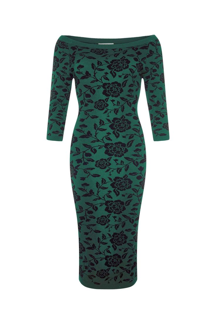 Collectif Green 3/4 Sleeve Brocade Knitted Pencil Wiggle Dress