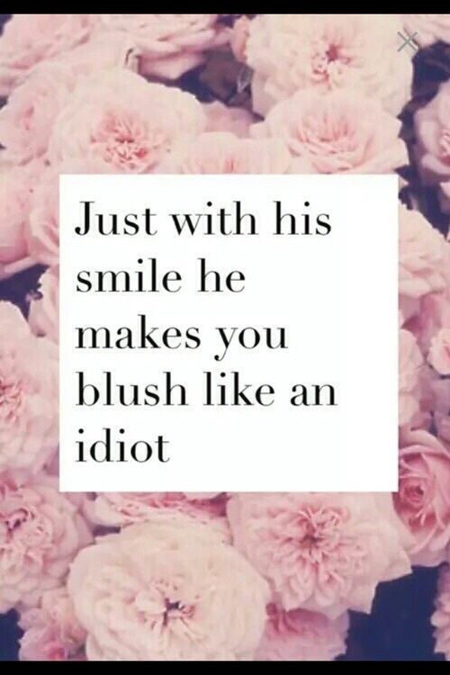 blush, for him, idiot, in love, love, quote, smile, wallpaper