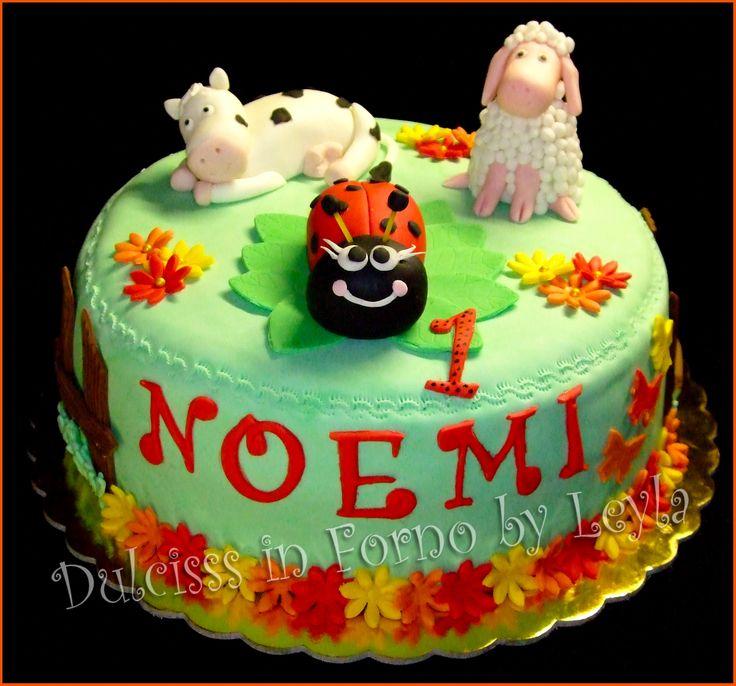 Torta Coccinella e animaletti, decorata in pasta di zucchero