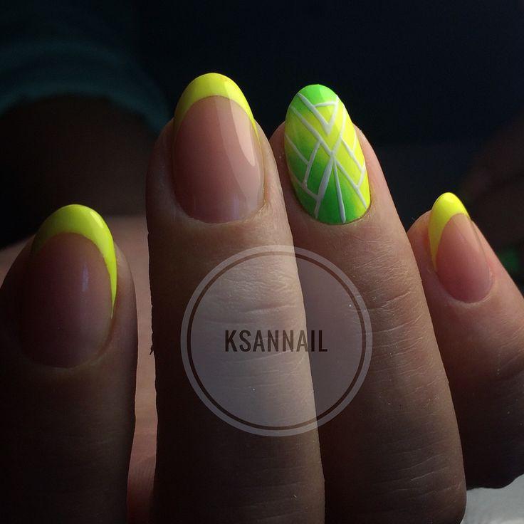 Неоновые ногти,френч,желтые ногти,пигмент,геометрия
