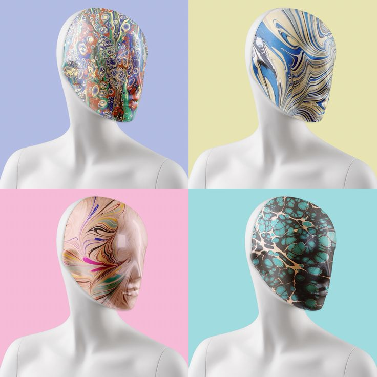 New upcoming project! Marble patterned masks #FemaleMannequins #mask #marble #print