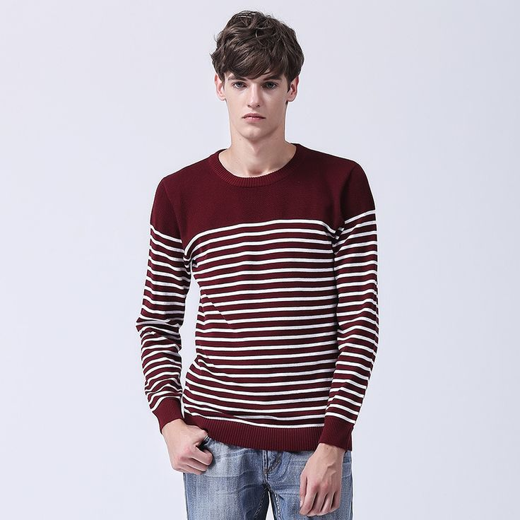 2016 Autumn New Cotton O Neck Sueter Masculino Tricotado Good Quality Stripe Pull Homme Coton