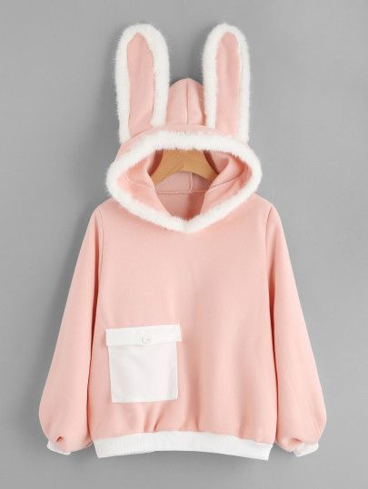 To find out about the Rabbit Ear Hooded Contrast Trim Sweatshirt at SHEIN, part of our latest Sweatshirts ready to shop online today! Girls Fashion Clothes, Girl Outfits, Fashion Outfits, Kawaii Fashion, Cute Fashion, Kleidung Design, Mode Kawaii, Stylish Hoodies, Pink Long Sleeve Tops