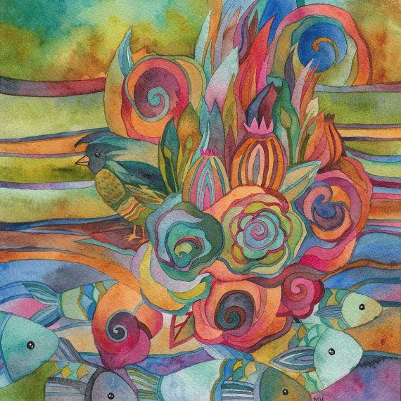 Stream of consciousness Watercolor by Megan Noel by meinoel