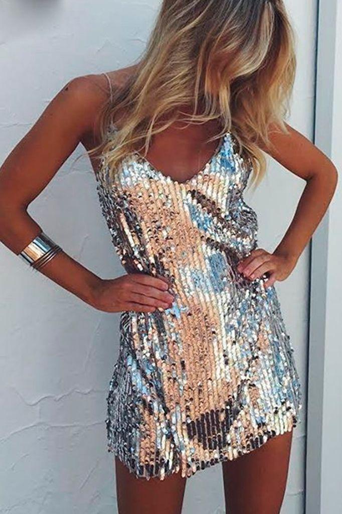 Sequined V-Neck Dress