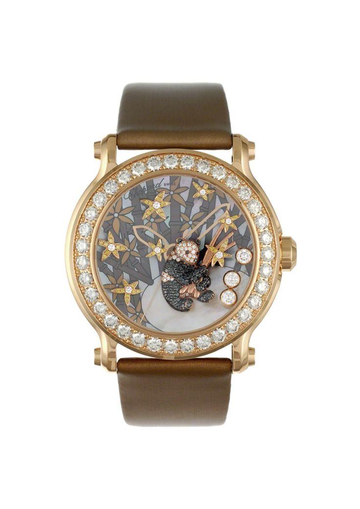 A superb lady's happy sport diamond and gem-set panda watch