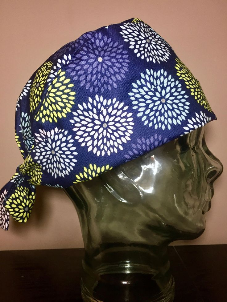 Blue, Yellow and White Firework Blooms on Navy Surgical Scrub Hat, Women's Flower Pixie Scrub Caps, Custom Caps Company by CustomCapsCompany on Etsy