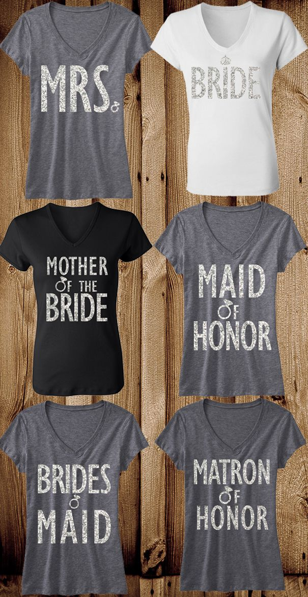Have the whole #BridalParty looking great! Bridal #Wedding Glitter Shirts offered in packs to fit the #Bride & Entourage. Click here to view all the Wedding Packs https://www.etsy.com/shop/NobullWomanApparel?section_id=14826280&ref=shopsection_leftnav_8