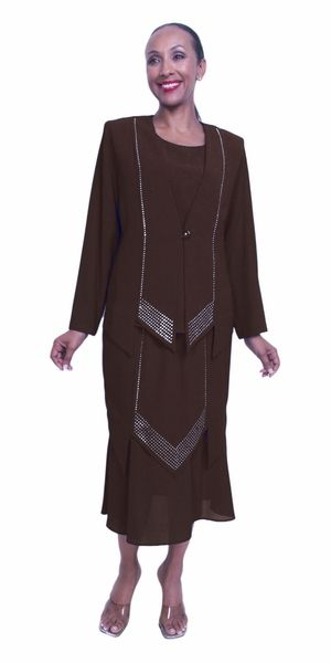 Plus size Black Church Choir Dress Jacket Tea Length 3 PC Set
