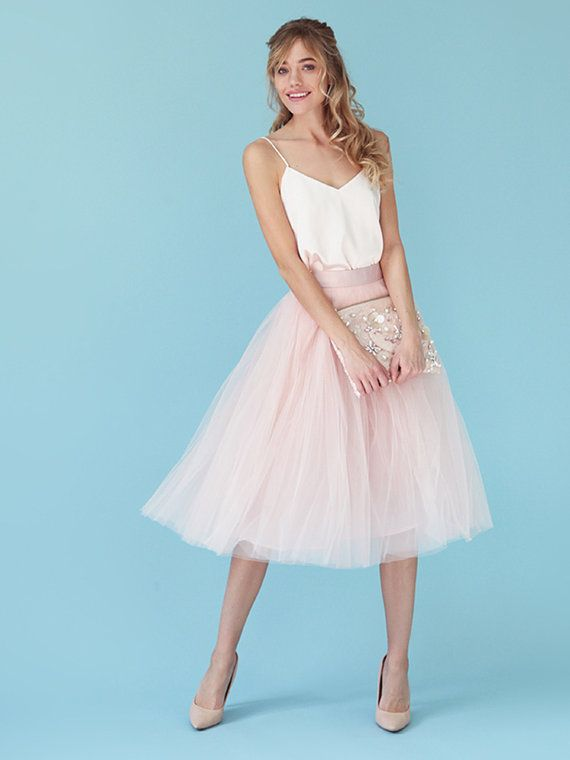Tea-length tulle skirt Pink tulle skirt light by NewLovelySkirt