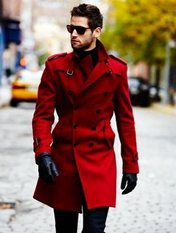 Shop this look for $161:  http://lookastic.com/men/looks/red-trenchcoat-and-navy-chinos-and-black-leather-gloves/2649  — Red Trenchcoat  — Navy Chinos  — Black Leather Gloves