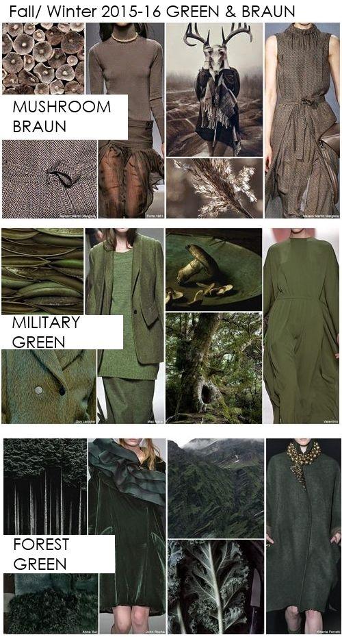 Pallet Key colors Fall-Winter 2015-2016 women fashion trend Apparel mushroom, military green and forest green  ----- Tavolozza colori principali donna tendenze stagione Autunno-Inverno 2015-2016 Abbigliamento marrone fungo, verde militare e verde bosco