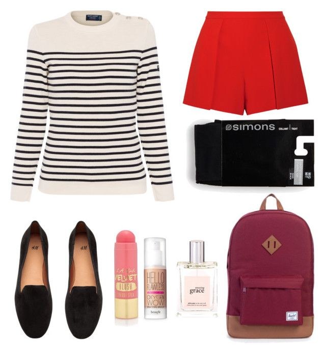 """autumn at school"" by franciscaantunes on Polyvore featuring Saint James, Alice + Olivia, H&M, Herschel Supply Co., L.A. Girl, philosophy and Benefit"