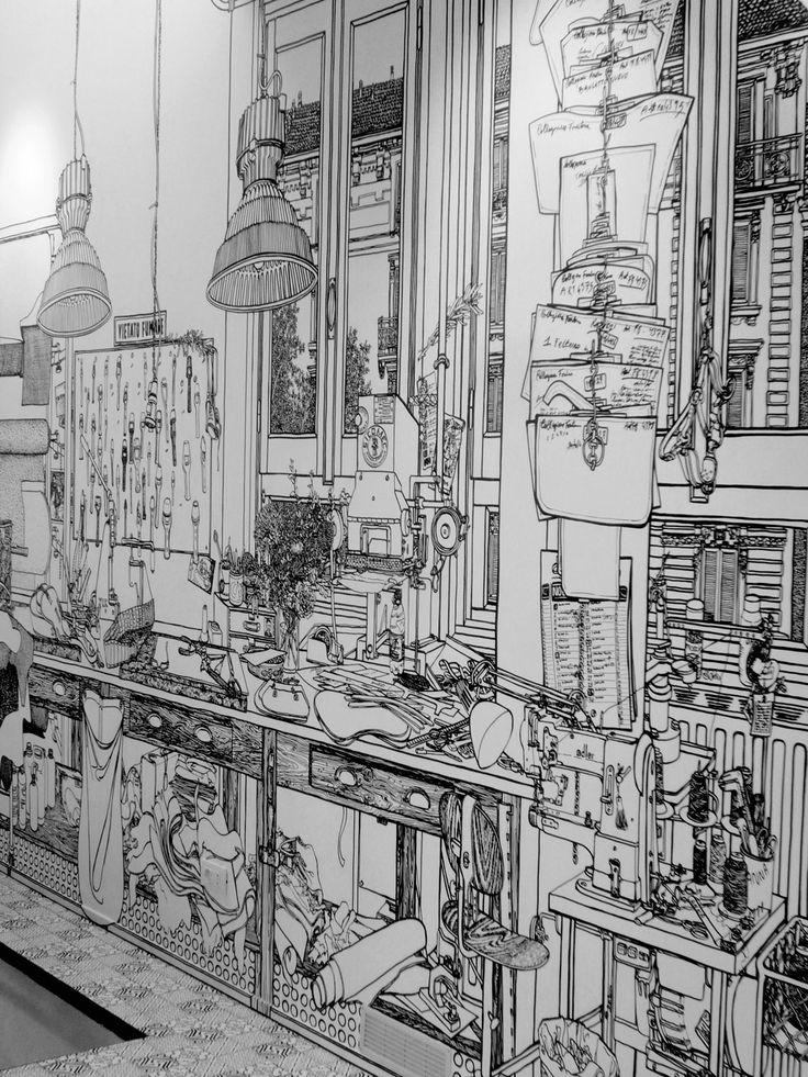 "Charlotte Mann, ""Fontana Pelleterie,"" 2009, Fontana Milano Shop, Milan,  black marker pen on wall, 13m X 4.2m"