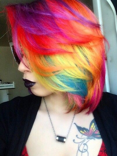 Purple red yellow rainbow dyed hair