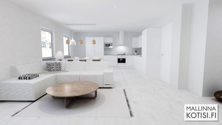 Remontin suunnittelua varten toteutettu 3D-mallinnus asunnosta.