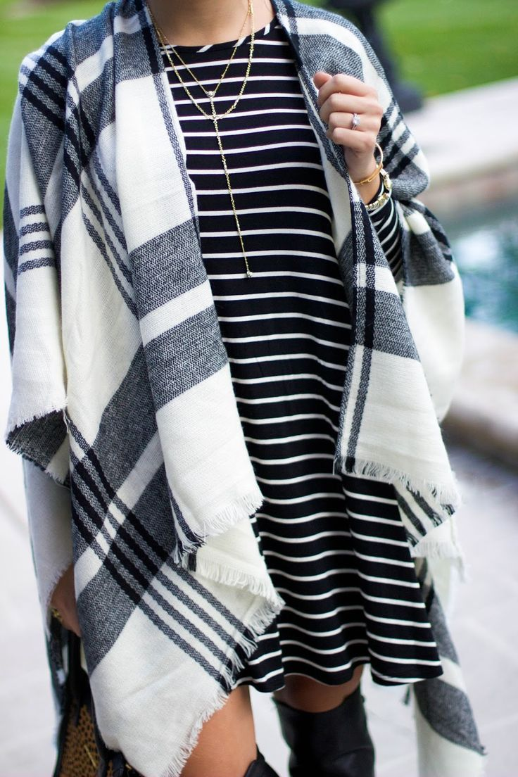 How to style a poncho: stripe swing dress & over the knee boots