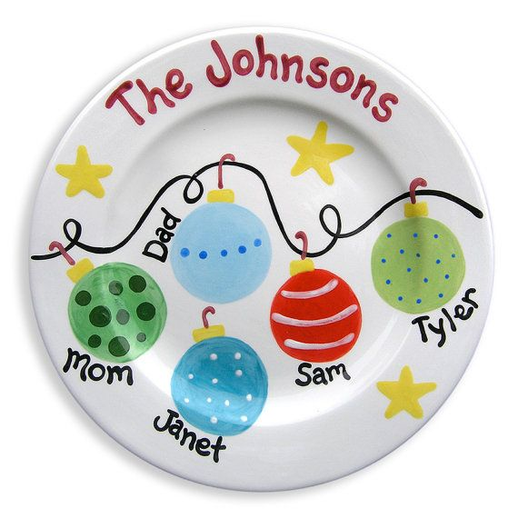Christmas family plate personalized ceramic plate hand for Where to buy ceramic plates to paint