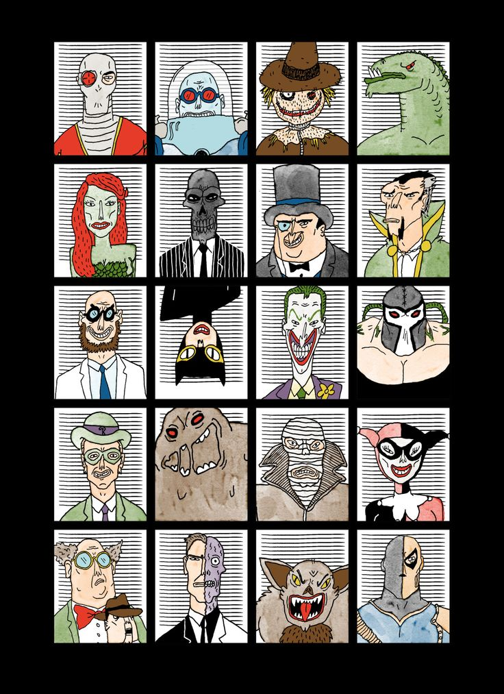 Batman Bad Guys - Pop Culture Portraits by Curtis Rosenthal
