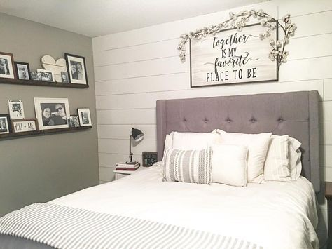Farmhouse style, farmhouse decor, modern farmhouse, master bedroom, master bedroom decor, farmhouse bedroom, shiplap, floating shelves, picture ledge shelves, tufted headboard, white bedding, gray walls, split level bedroom, cotton stems, over the bed sign, cotton stem garland See Instagram photos and videos from Robin Norton (Derek Smith.n.robs)